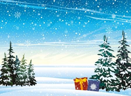 ciel rouge: nature paysage d'hiver avec des cadeaux et des chutes de neige