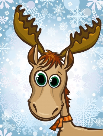 Cartoon happy elk on a winter snow background. Vector
