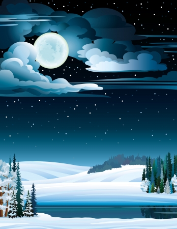 Winter nature landscape with frozen lake and full moon on a night starry sky. Vector