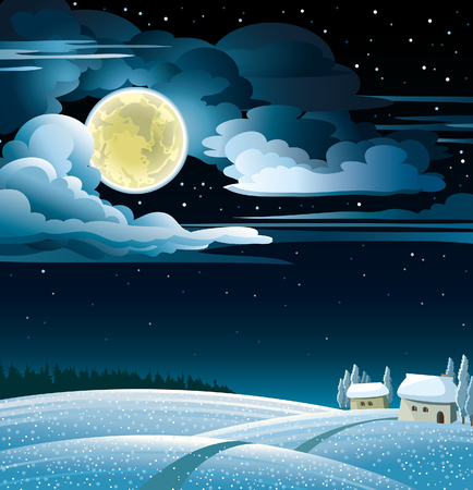Winter night landscape with snowy huts and full moon on a starry sky  background. Vector