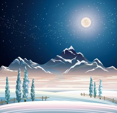 Nacht winter landschap met bergen en besneeuwde bomen.