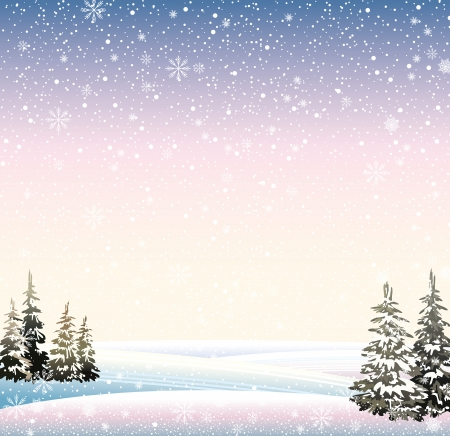 Vector of winter snowy landscape with forest.