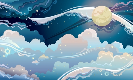 Night starry sky with full moon. Fantastic  vector cloudscape. Vector