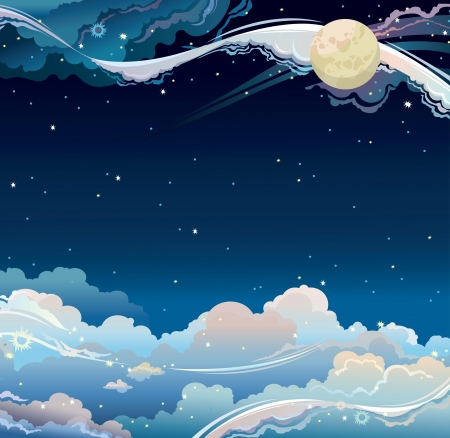 Fantastic night sky with full moon, stars and clouds. Vector cloudscape. Vector