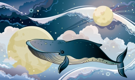 Cartoon blue whale flying on a night starry sky. Fantastic vector cloudscape. Vector