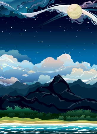 cloudy night sky: Tropical summer night landscape with mountain and sea on a cloudy sky. Nature vector.