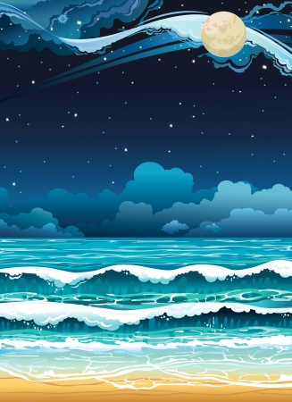 Night seascape with full moon and starry sky. Vector