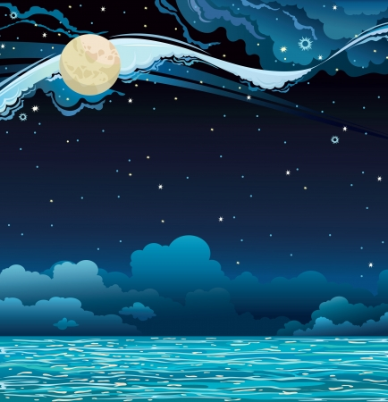 cloudy night sky: Night starry sky with full moon and calm sea. Illustration