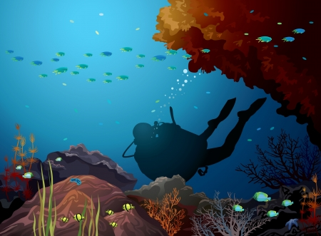 Colored coral reef with silhouette of diver in a blue sea  Underwater vector  Vector