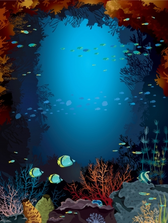 Underwater cave with coral reef and school of fish in a blue sea  Vectores