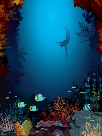 coral reef underwater: Coral reef with uderwater creatures and freediver in a blue sea  Illustration