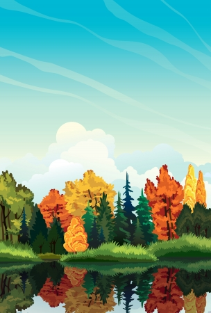 lakeside: Autumn nature landscape with colored trees and lake. Illustration