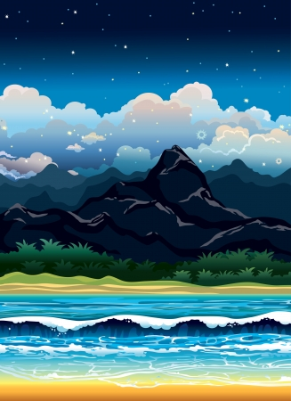 cloudy night sky: Night tropical landscape with mountains, forest and sea with wave. Illustration