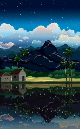 cloudy night sky: Night tropical landscape with mountains and village on a cloudy sky.