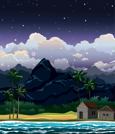 cloudy night sky: Night tropical landscape with mountains, huts and blue sea with wave.   Illustration