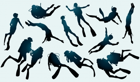 Set of divers and freedivers silhouette.