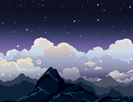 clody sky: Night starry sky with mountains and group of clouds.