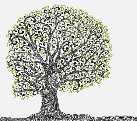 Spring graphic tree with twisted roots