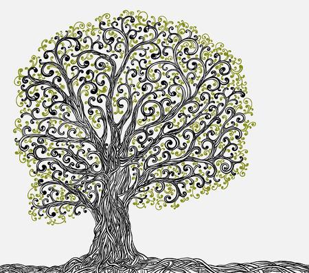 dibujos lineales: Primavera árbol gráfico con raíces retorcidas