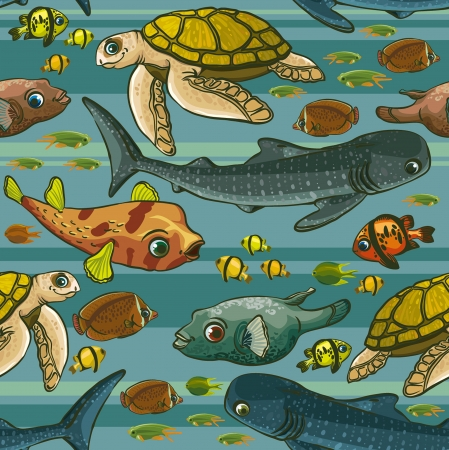 exotic fish: Seamless pattern with underwater creatures. Illustration