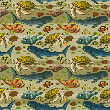Seamless pattern with underwater creatures  Vector