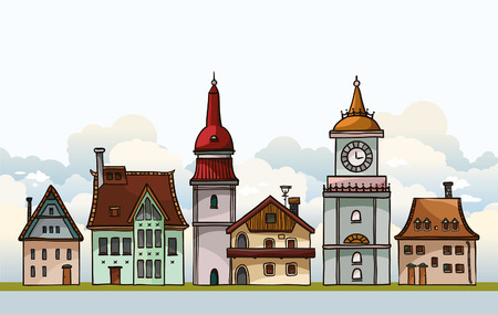 Set of cartoon residental houses on a cloudy sky. Vector