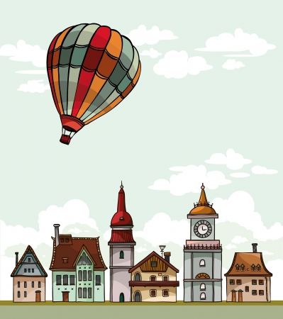 aerostat: Set of cartoon residental houses and air balloon on a cloudy sky. Vector village. Illustration