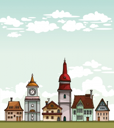 residental: Set of cartoon residental houses on a cloudy sky. Vector village.