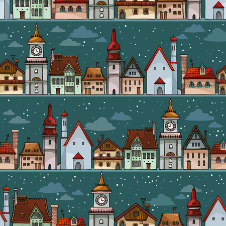 cloudy night sky: Seamless pattern with cartoon houses on a night sky