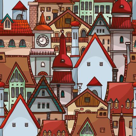 residential neighborhood: Seamless pattern with cartoon houses Illustration