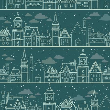 stars cartoon: Seamless pattern with cartoon houses on a night sky