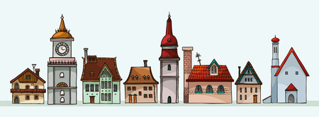 Set of cartoon residential houses