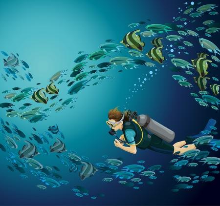 school of fish: School of fish and scuba diver on a blue sea Illustration