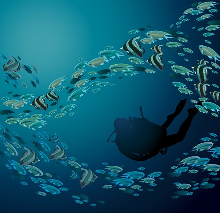 School of fish and scuba diver on a blue sea Vector