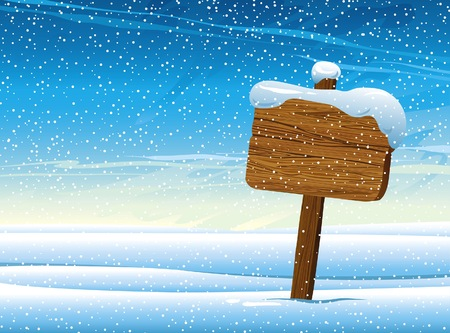 Wooden pointer with falling snow on blue sky background  Winter vector  Vector