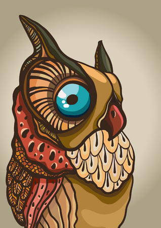 wise old owl: Cartoon graphic owl with big blue eyes