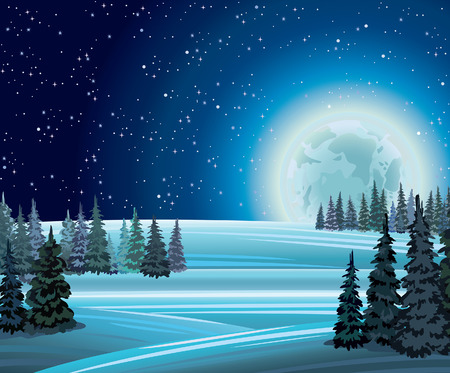 Night winter nature with full moon on a starry sky  Vector