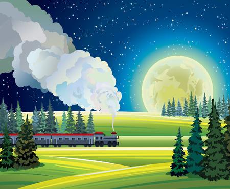 tren caricatura: Paisaje de la noche de verano con tren y la luna llena en un cielo estrellado