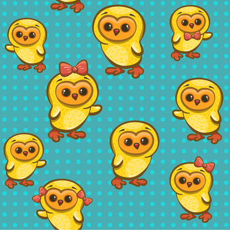 overcrowding: Seamless pattern with cartoon funny yellow chickens  Illustration
