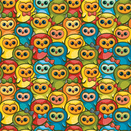 overcrowding: Seamless pattern with cartoon funny chickens