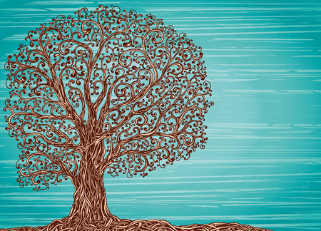 Old graphic tree with twisted roots and branches on a blue background.
