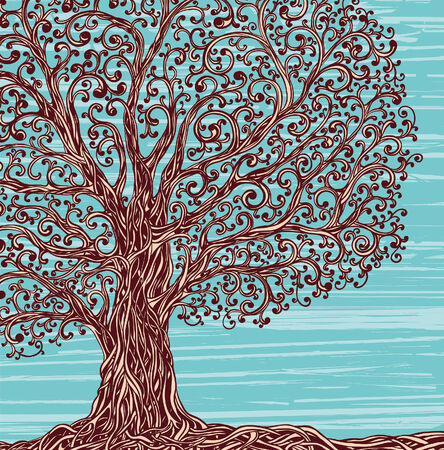texture twisted: Old graphic tree with twisted roots and branches on a blue background.