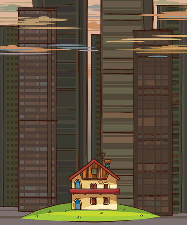 Small village house on a skyscraper background. Vector
