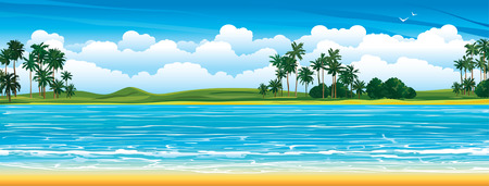 Tropical landscape with coconut palms and blue sea with waves on a cloudy sky background.