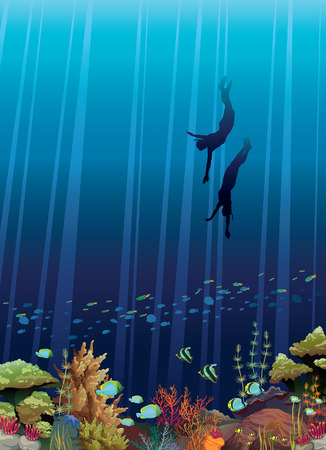Coral reef with underwater creatures and two freedivers in a blue sea.  Vector