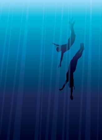 apnea: Two freedivers in a blue deep sea.