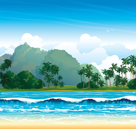 Tropical landscape with blue sea, waves and palms on a cloudy sky.  矢量图像