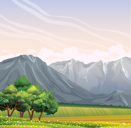flowering field: Green rural field with flowering trees and gray mountains on a sunrise background.