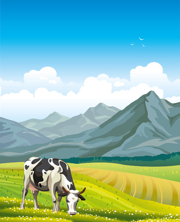 broun: Cartoon cow and rural meadow with green grass on the mountain background.