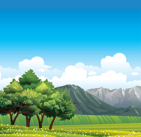 cartoon mountain: Green rural meadow with flowering trees and gray mountains on a blue sky.